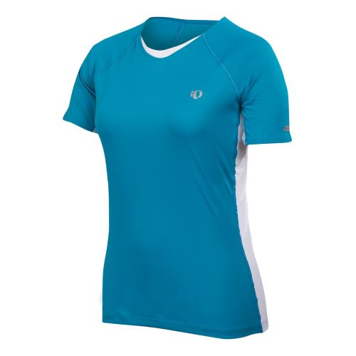 Womens Pearl Izumi Infinity In-R-Cool Short Sleeve Technical Tops - Blue Jewel/White S