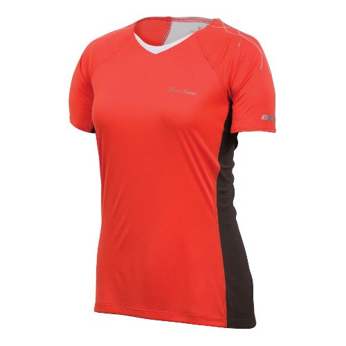 Womens Pearl Izumi Infinity In-R-Cool Short Sleeve Technical Tops - Coral/Shadow Grey M