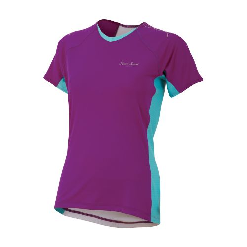 Womens Pearl Izumi Infinity In-R-Cool Short Sleeve Technical Tops - Orchid/Scuba Blue L