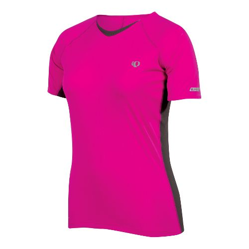 Womens Pearl Izumi Infinity In-R-Cool Short Sleeve Technical Tops - Pink Punch/Shadow Grey L