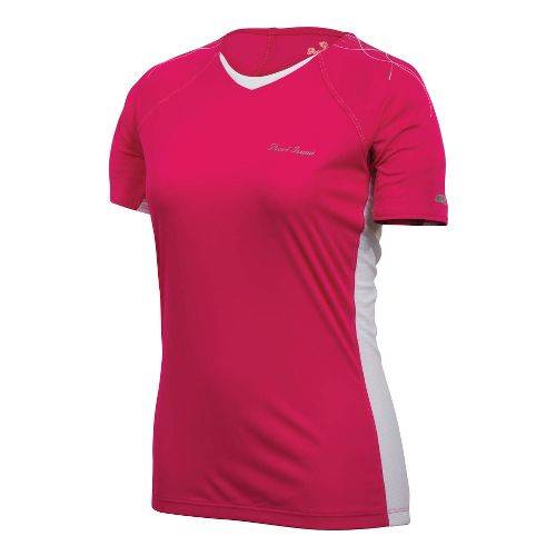 Womens Pearl Izumi Infinity In-R-Cool Short Sleeve Technical Tops - Pink Punch/White L