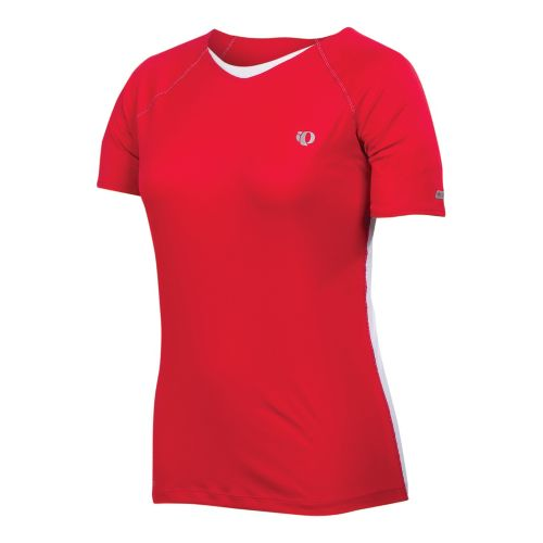 Womens Pearl Izumi Infinity In-R-Cool Short Sleeve Technical Tops - True Red/Black XS