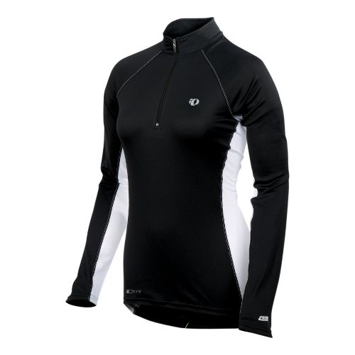 Womens Pearl Izumi Infinity In-R-Cool Long Sleeve 1/2 Zip Technical Tops - Black/White M