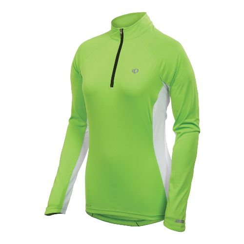 Womens Pearl Izumi Infinity In-R-Cool Long Sleeve 1/2 Zip Technical Tops - Green Flash/White S ...