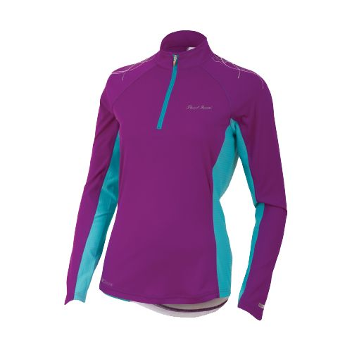 Womens Pearl Izumi Infinity In-R-Cool Long Sleeve 1/2 Zip Technical Tops - Orchid/Scuba Blue M ...
