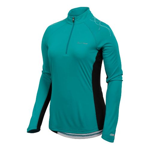 Womens Pearl Izumi Infinity In-R-Cool Long Sleeve 1/2 Zip Technical Tops - Peacock/Black S