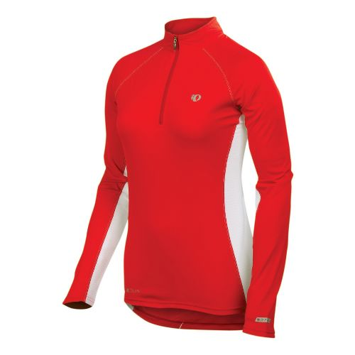 Womens Pearl Izumi Infinity In-R-Cool Long Sleeve 1/2 Zip Technical Tops - True Red/White L ...