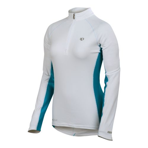 Womens Pearl Izumi Infinity In-R-Cool Long Sleeve 1/2 Zip Technical Tops - White/Blue Jewel L ...