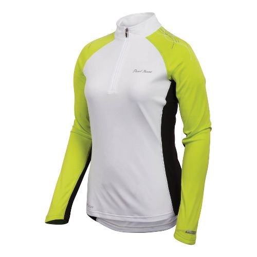 Womens Pearl Izumi Infinity In-R-Cool Long Sleeve 1/2 Zip Technical Tops - White/Lime L