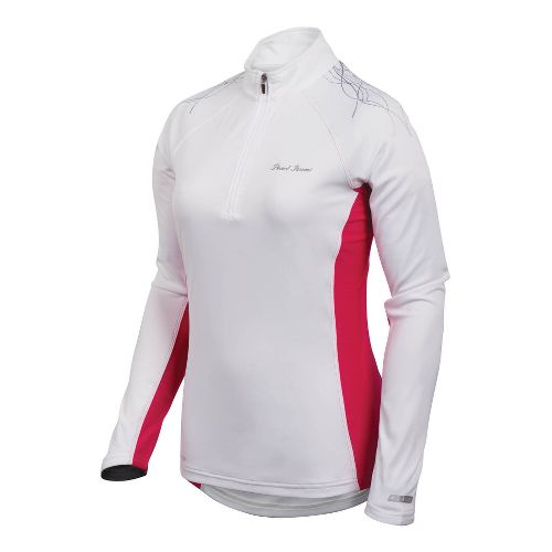 Womens Pearl Izumi Infinity In-R-Cool Long Sleeve 1/2 Zip Technical Tops - White/Pink Punch XS ...
