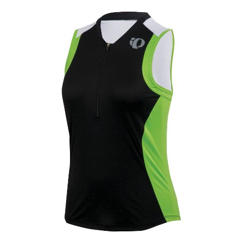 Womens Pearl Izumi SELECT Tri SL Jersey Sleeveless Technical Tops - Black/Green Flash XL