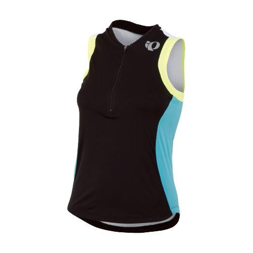 Womens Pearl Izumi SELECT Tri SL Jersey Sleeveless Technical Tops - Black/Scuba Blue XL