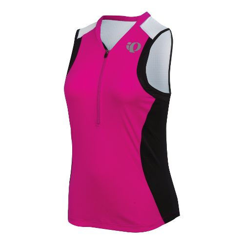 Womens Pearl Izumi SELECT Tri SL Jersey Sleeveless Technical Tops - Pink Punch/Black L