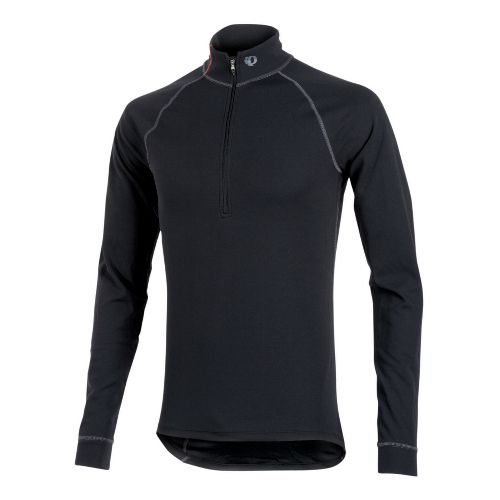 Mens Pearl Izumi Transfer Zip-Neck Long Sleeve Baselayer 1/2 Zip Technical Tops - Black M ...
