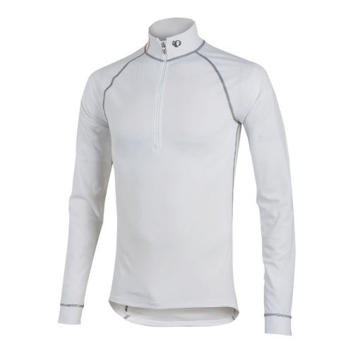 Mens Pearl Izumi Transfer Zip-Neck Long Sleeve Baselayer 1/2 Zip Technical Tops - White M ...