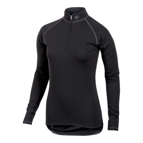 Womens Pearl Izumi Transfer Zip-Neck Long Sleeve Baselayer 1/2 Zip Technical Tops - Black S ...