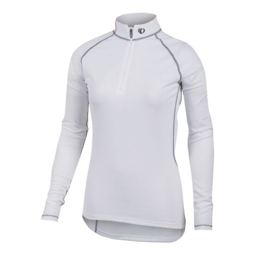 Womens Pearl Izumi Transfer Zip-Neck Long Sleeve Baselayer 1/2 Zip Technical Tops - White S ...