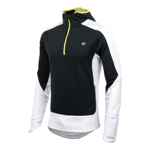 Mens Pearl Izumi Infinity Windblocking Hoody Long Sleeve 1/2 Zip Technical Tops - Black/White S ...