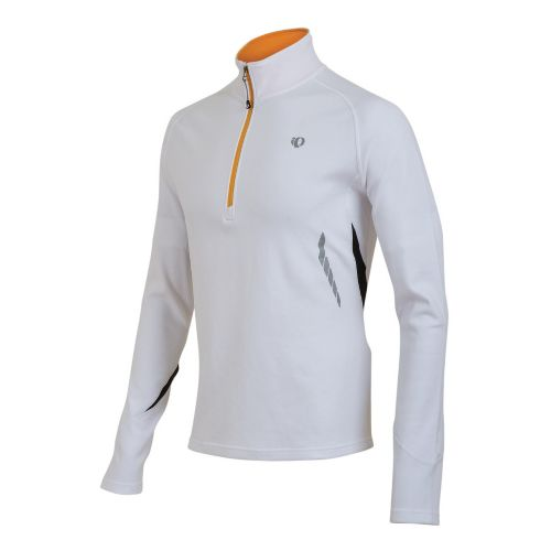 Mens Pearl Izumi Therma Phase Top Long Sleeve 1/2 Zip Technical Tops - White/Safety Orange ...