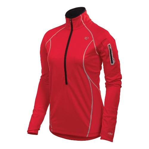 Womens Pearl Izumi Fly Evo Pullover Long Sleeve 1/2 Zip Technical Tops - True Red ...
