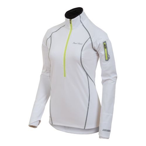 Womens Pearl Izumi Fly Evo Pullover Long Sleeve 1/2 Zip Technical Tops - White/Lime S ...