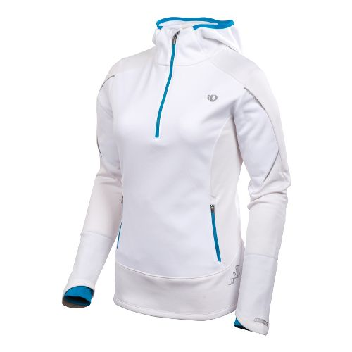 Womens Pearl Izumi Infinity Windblocking Hoody Long Sleeve 1/2 Zip Technical Tops - White/Blue ...