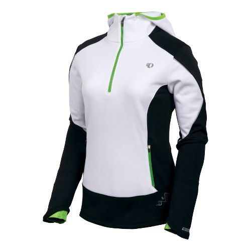 Womens Pearl Izumi Infinity Windblocking Hoody Long Sleeve 1/2 Zip Technical Tops - White/Black ...