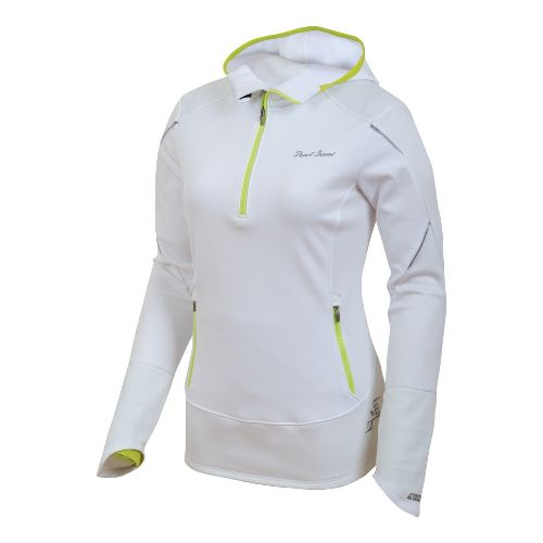Womens Pearl Izumi Infinity Windblocking Hoody Long Sleeve 1/2 Zip Technical Tops - White/Lime ...