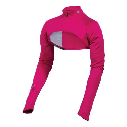 Womens Pearl Izumi Infinity Shrug Long Sleeve Full Zip Technical Tops - Pink Punch/Pinstripe L ...