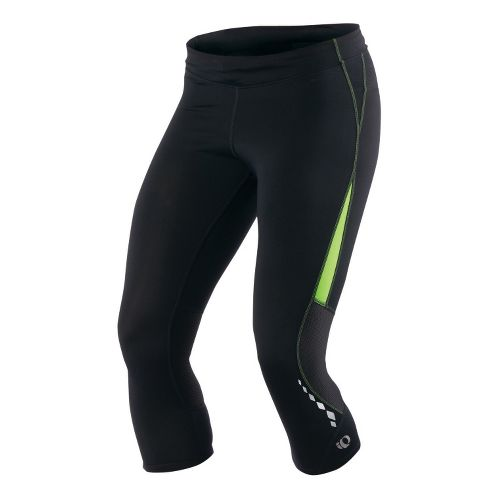 Womens Pearl Izumi Aurora Splice Knicker Fitted Tights - Black/Green Flash L