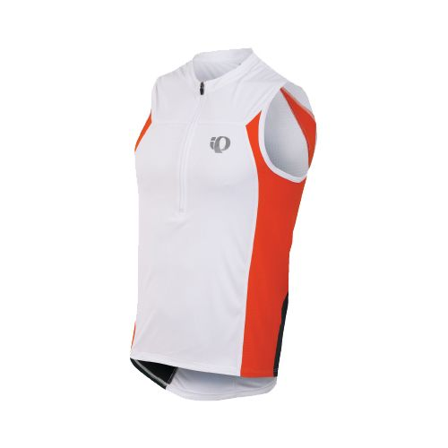 Mens Pearl Izumi SELECT Tri SL Jersey Sleeveless Technical Tops - White/Cherry Tomato L