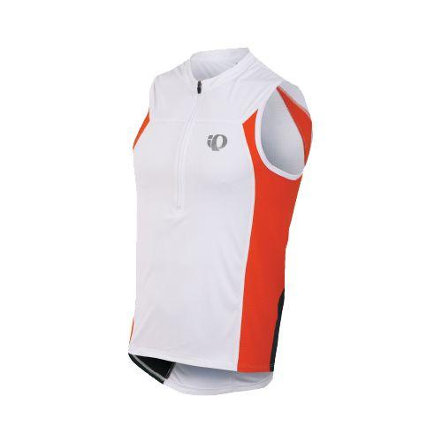 Mens Pearl Izumi SELECT Tri SL Jersey Sleeveless Technical Tops - White/Cherry Tomato XL