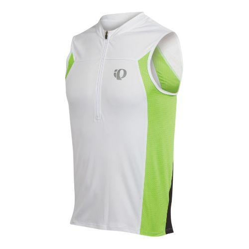 Mens Pearl Izumi SELECT Tri SL Jersey Sleeveless Technical Tops - White/Green Flash XL