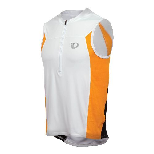 Mens Pearl Izumi SELECT Tri SL Jersey Sleeveless Technical Tops - White/Safety Orange M