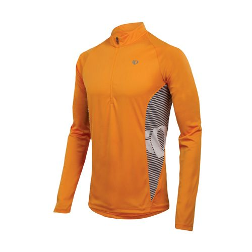 Mens Pearl Izumi Fly In-R-Cool Long Sleeve 1/2 Zip Technical Tops - Safety Orange S ...
