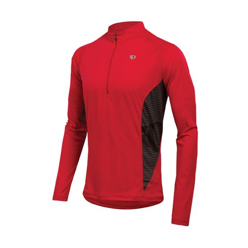 Mens Pearl Izumi Fly In-R-Cool Long Sleeve 1/2 Zip Technical Tops - True Red L ...