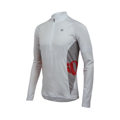 Mens Pearl Izumi Fly In-R-Cool Long Sleeve 1/2 Zip Technical Tops - White L