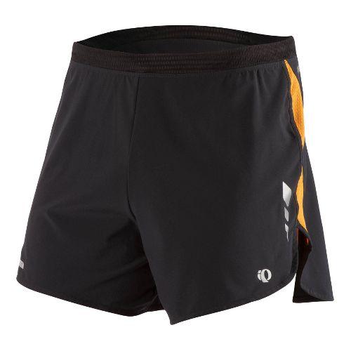 Mens Pearl Izumi Fly Short Splits Shorts - Black/Safety Orange L