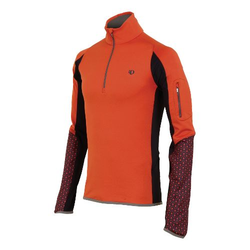 Mens Pearl Izumi Ultra Thermal Top Long Sleeve 1/2 Zip Technical Tops - Rust/Black M ...