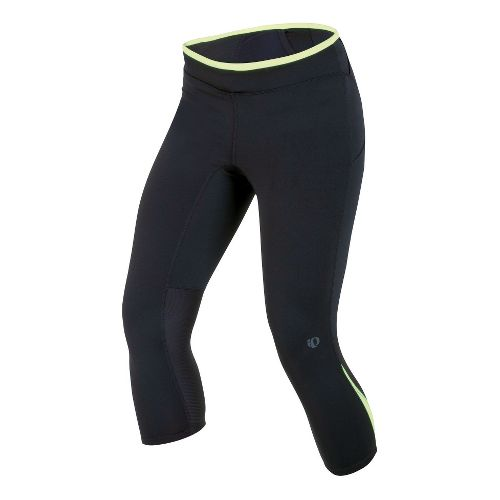 Womens Pearl Izumi Ultra 3/4 Tight Capri Tights - Black/Lime S