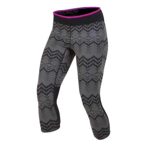 Womens Pearl Izumi Ultra 3/4 Print Capri Tights - Shadow Grey/Black XS