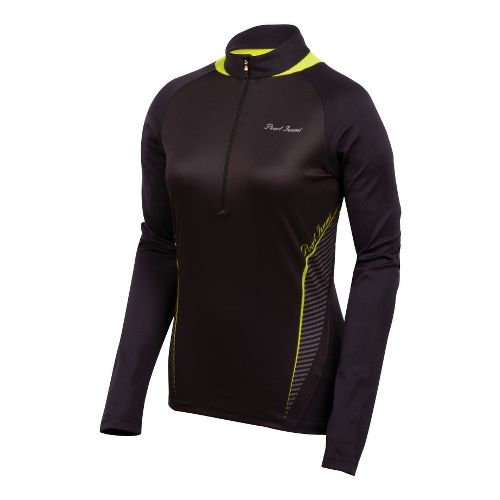 Womens Pearl Izumi Fly In-R-Cool Long Sleeve 1/2 Zip Technical Tops - Black/Lime XS