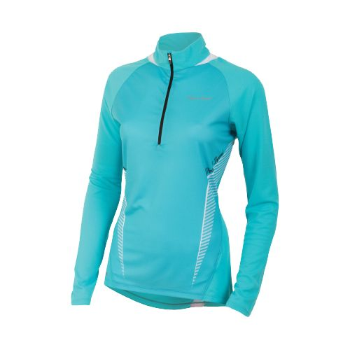 Womens Pearl Izumi Fly In-R-Cool Long Sleeve 1/2 Zip Technical Tops - Scuba Blue XS ...