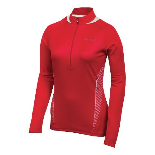 Womens Pearl Izumi Fly In-R-Cool Long Sleeve 1/2 Zip Technical Tops - True Red/White XS ...
