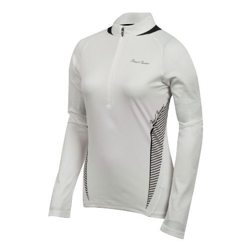 Womens Pearl Izumi Fly In-R-Cool Long Sleeve 1/2 Zip Technical Tops - White/Black L