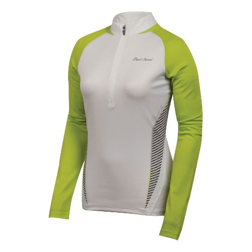 Womens Pearl Izumi Fly In-R-Cool Long Sleeve 1/2 Zip Technical Tops - White/Lime S