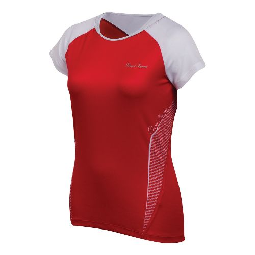 Womens Pearl Izumi Fly In-R-Cool Short Sleeve Technical Tops - True Red/White XS