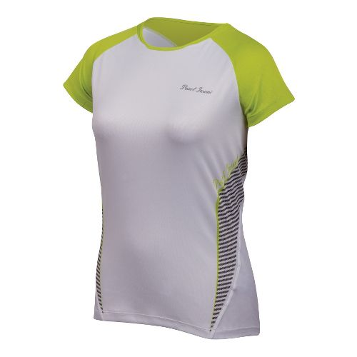 Womens Pearl Izumi Fly In-R-Cool Short Sleeve Technical Tops - White/Lime M