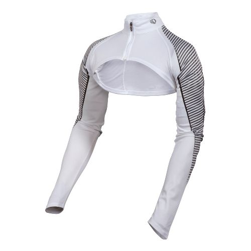 Womens Pearl Izumi Fly In-R-Cool Shrug Long Sleeve Full Zip Technical Tops - White S ...