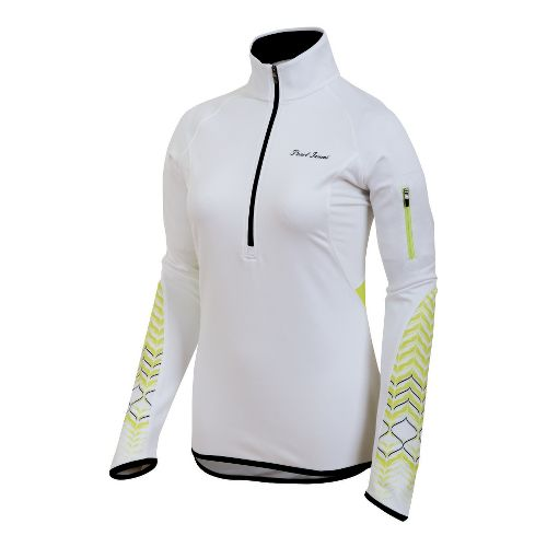 Womens Pearl Izumi Ultra Thermal Top Long Sleeve 1/2 Zip Technical Tops - White/Lime M ...